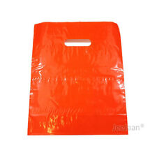 """100 Orange Plastic Carrier Bags 10""""x12""""+4"""" Gift  Party Shop Carry Patch Handle"""