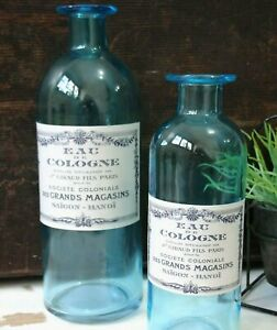 2 Blue Vintage French style Perfume Bottles – Pharmacy Apothecary Glass Bottle
