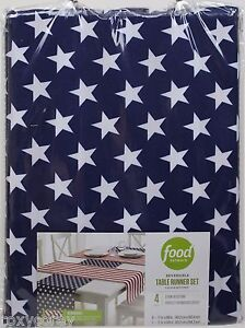 Food Network 4 pc White Red Blue Patriotic Stripe Stars Reversible Table Runner