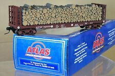 ATLAS 7274-6 O GAUGE 2 RAIL SANTA FE AT&SF PULPWOOD FLAT CAR WAGON 92999 qd
