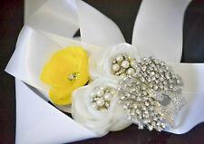 HANDMADE BRIDAL/FLOWER GIRL SATIN WHITE RIBBON SASH WHITE/YELLOW FLOWERS