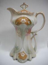 RS Prussia Art Nouveau Floral CHOCOLATE / COFFEE / TEA POT Marked SuhL c 1970s