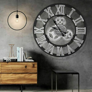 Large Gear Wall Clock Vintage Rustic Wooden luxury Handmade Clock Art Vintage