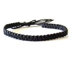 BRACELET BLACK CORD HEMP BRAIDED ANKLET WRISTBAND FRIENDSHIP BEACH  mens womens