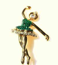 BROOCH ballerina dancing in green