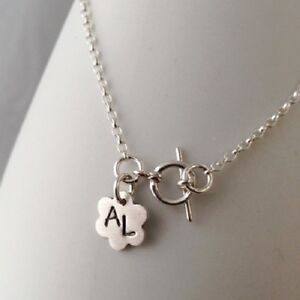 Gorgeous Handmade Personalised Floral Initial Sterling Silver Charm Bracelet