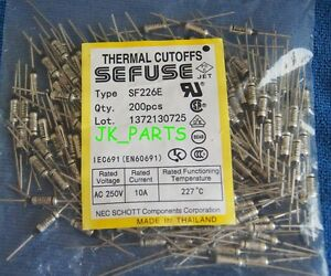 200pcs SF226E SEFUSE Cutoffs NEC Thermal Fuse 227°C Celsius Degree 10A 250V