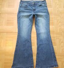 Womens Flare Bell bottoms High Rise Artist Stretch Distress Jeans Sz 14R