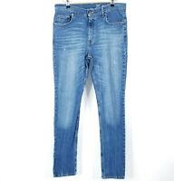 George Slim Straight Leg Denim Jeans Pants Mens Size 34 X 34 Medium Wash Blue