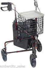 "Drive Deluxe 3 Wheel Aluminum Rollator, 7.5"" Casters with Loop Locks Flame Red"