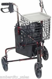 """Drive Deluxe 3 Wheel Aluminum Rollator, 7.5"""" Casters with Loop Locks Flame Red"""