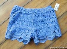AEROPOSTALE ~ New! NWT Size XS ~ BOHO FESTIVAL! Periwinkle Blue CROCHET Shorts