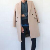 Korean Men's Wool Blend Trench Coat Long Jackets Casual Slim Fit Outwear Black