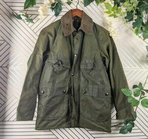 Barbour Bedale Jacket Olive Green distress Wax Cotton tartan lining 81cm FLAW