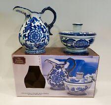 The Bombay Company Blue and White Ceramic Sugar Bowl and Creamer Set  2 PC NIB