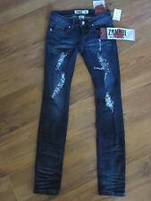 New Junior Sz 0 Zana Di Zanadi Distressed Skinny Blue Jeans Rhinestones $50