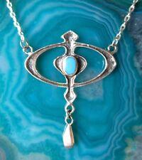 Collar Cadena Círculo ovalo con turquesa plata esterlina 925