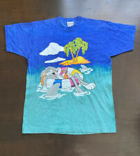 Vintage Bugs Bunny Jerry Leigh Blue Turquoise T Shirt Fits Mens Large 90s Usa