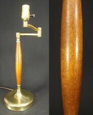 mid century modern WALNUT table lamp ATOMIC light THURSTON teak SWING ARM 1950's