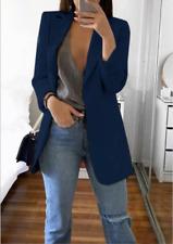Women Slim Blazer Jacket Top Outwear Long Sleeve Career Formal Coat Navy Blue M