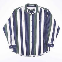 Vintage Blue & White Striped Long Sleeve Casual Shirt Size Men's XL