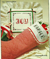 Christmas Joy Pillow & Stocking Cuff Cross Stitch Pattern Chart from a booklet