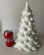 """Vtg Colonial Candle Company of Cape Cod 12"""" White Christmas Tree Silver Glitter"""
