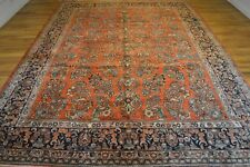 9'x11' Handmade Persian Sarouk Genuine Antique Woven Floral Rug Carpet (ca.1880)