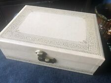 Vintage Estate Gold Embossed Jewely Box w/ Key Mirror