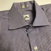 Peter Millar Men's Long Sleeve Button-Down Shirt Pink/Blue Checkered, Medium