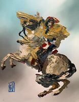 Abstract Portrait Napoleon Crossing Alps Horse Palette Knife Art Painting 11x14