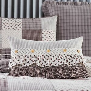 VHC Florette Ruffled Floral Country Farmhouse Cottage Accent Pillow 14x22