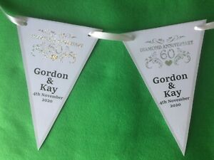 Personalised 60th Diamond Wedding Anniversary Bunting banner Party Decoration