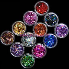 12 Colors Rhombus Shape Glitter Sequins Powder Nail Art Acrylic UV 3D Decoration