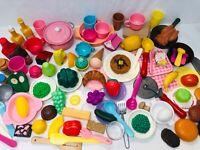 Play Food Lot w/ Dishes, Utensils & Hot Pads Pretend Kitchen Preschool Toy Lot 2
