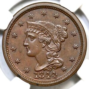 1844 N-7 R-3+ NGC MS 62 BN Braided Hair Large Cent Coin 1c