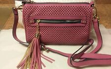 Izaro Pink Vegan Leather Cut Out Crossbody with tassel !! NWT