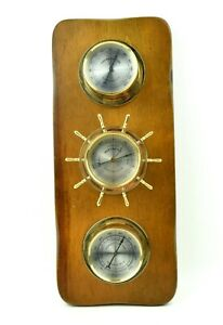 Vintage Springfield Nautical Wooden Weather Station Thermometer Barometer Humid