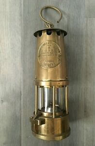 1977 The Protector Lamp & Lighting Co Eccles M&Q Type 6 Brass Miners Lamp