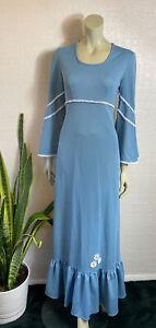Vintage 1970's Maxi Dress Pale Blue Crimplene Size 14 Prairie