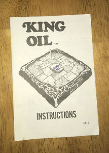 King Oil Board Game Replacement Instruction Booklet 1974