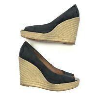 Coach Milan espadrille wedge heel peep open toe sandal women's shoes 9.5 medium
