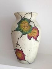 Vase pottery vintage beige gray home decor handcrafted handmade leaves ornaments