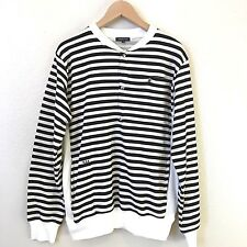 Surface To Air Mens Striped Sweater Size Large Cream Black 100% Cotton S2A