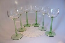 BEAUTIFUL GREEN STEM / ETCHED GLASS WINE GLASSES: SET OF 6