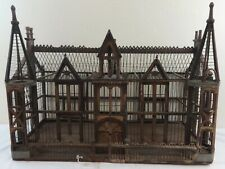 Antique Folky Victorian Architectural Building Bird Cage Made of Wood,Wire,Tin