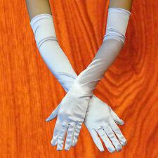 Opera Elbow Length Satin Gloves Costume Full Fingered -fast ship -white color