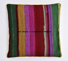 Indian Handmade Chindi Cushion Cover Jute Pillows Boho Ethnic Pillow Cases Throw