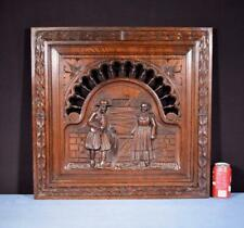 *Antique French Breton Panel Brittany in Solid Chestnut Wood w/Couple Salvage