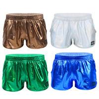Herren Shorts Metallic Kurze Hose Sport Gym Boxershorts Retroshorts Tanz Kostüm